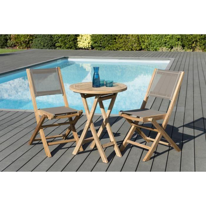 Ensemble de jardin en teck : 1 table ronde pliante 60 x 60 cm - Lot de 2 chaises pliantes en textilène, couleur taupe JARDITECK