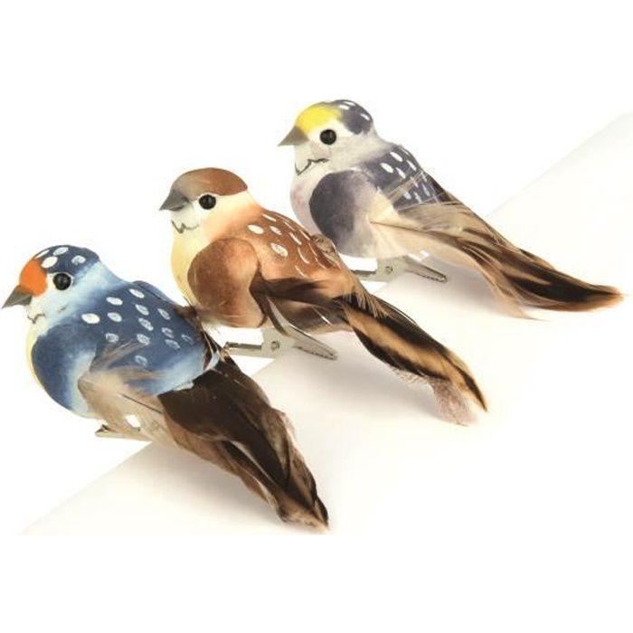 Oiseaux décoratifs Nature 3 pièces - Artémio Multicolore - Assort.