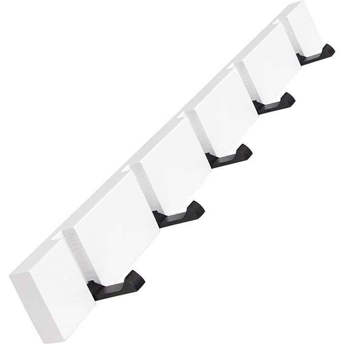 PORTE-MANTEAU Réglable dissimulé à porte-manteaux 5 crochets - blanc