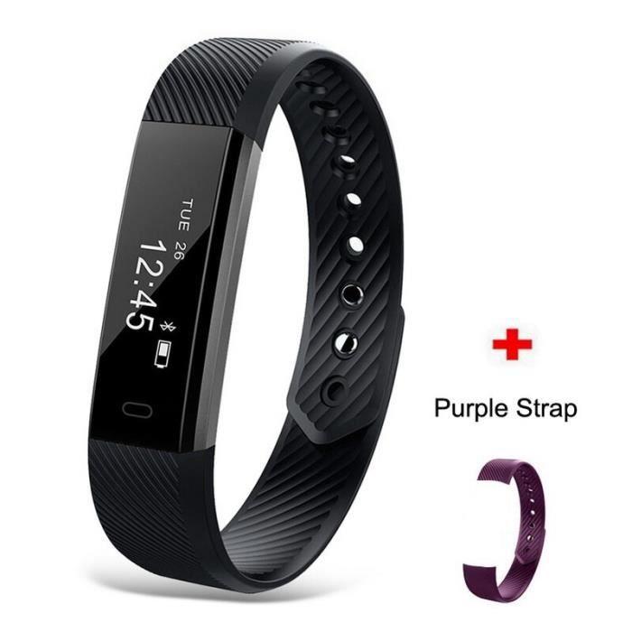 Montre connectée,Bracelet intelligent de suivi de forme physique ID115 Veryfit APP moniteur d'activité - Type ID115 Black W Purple