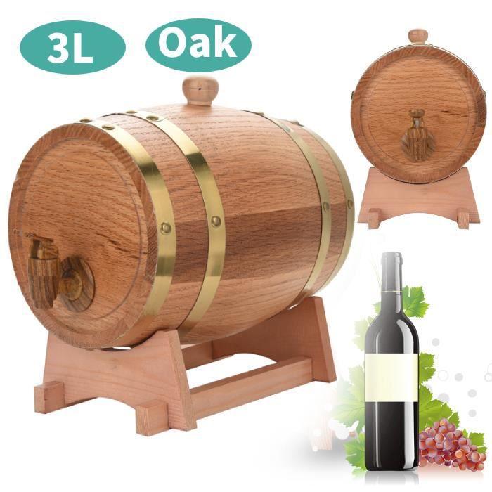 Baril de chêne (3L), VIN ROUGE - ALCOOL - LIQUIDE 3L tonneau en bois de chêne avec support pour le stockage des vins -XNAHB029