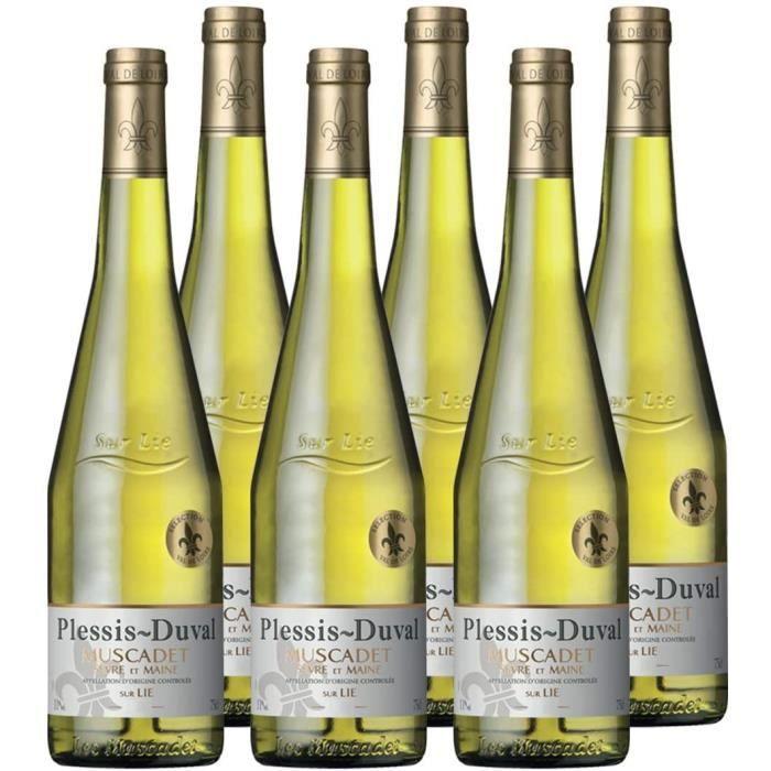 Plessis Duval - AOP Muscadet Sevre et Maine sur Lie - Vin Blanc - Millésime 2019 - Lot de 6 bouteilles x 75 cl