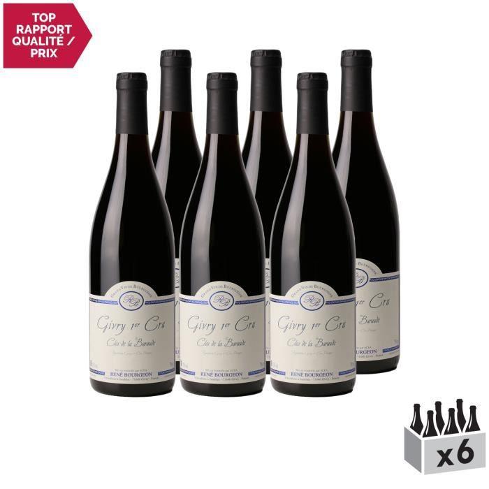 Givry 1er Cru Clos de la Baraude Rouge 2018 - Lot de 6x75cl - Domaine René Bourgeon - Vin AOC Rouge de Bourgogne - Cépage Pinot Noir