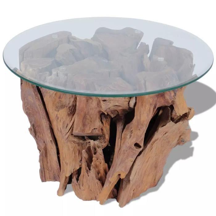 Table basse Table de salon Bois flottant de teck massif 60 cm