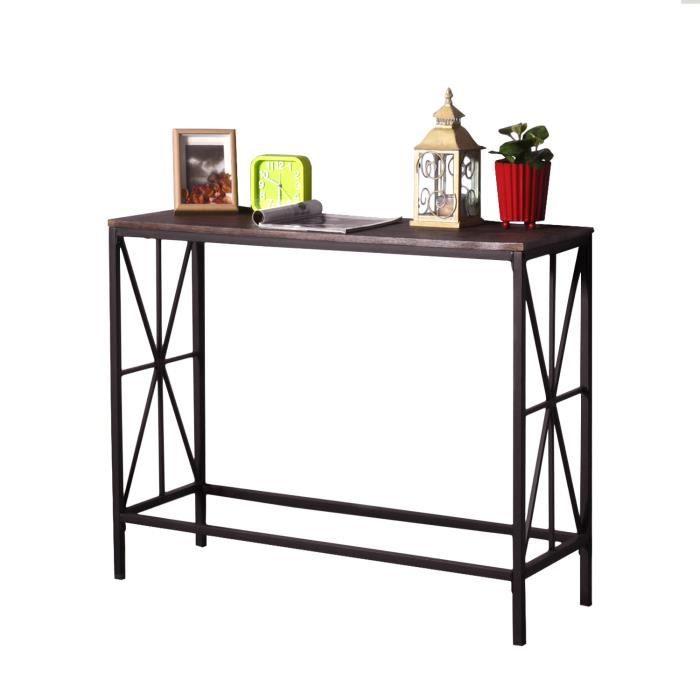MEUBLES COSY Table de Console en Bois Table de Bureau - Table de Salon pour Entrée - Pied Métal Noir - Style Industriel
