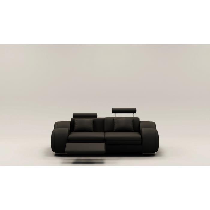 DYDDA - Canapé 2 places relax en cuir noir