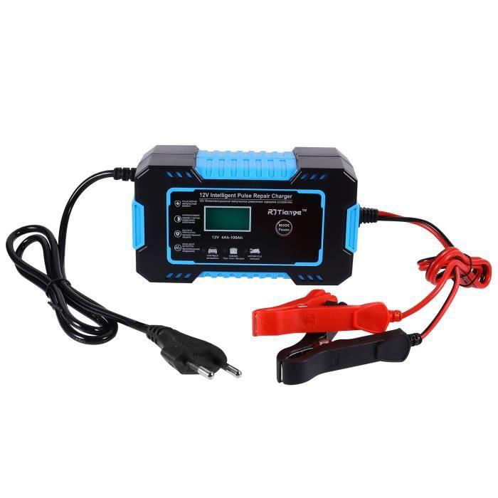 Chargeur de batterie de voiture 12V6A Arrêt entièrement automatique pour moto universel bleu (norme européenne d'origine)