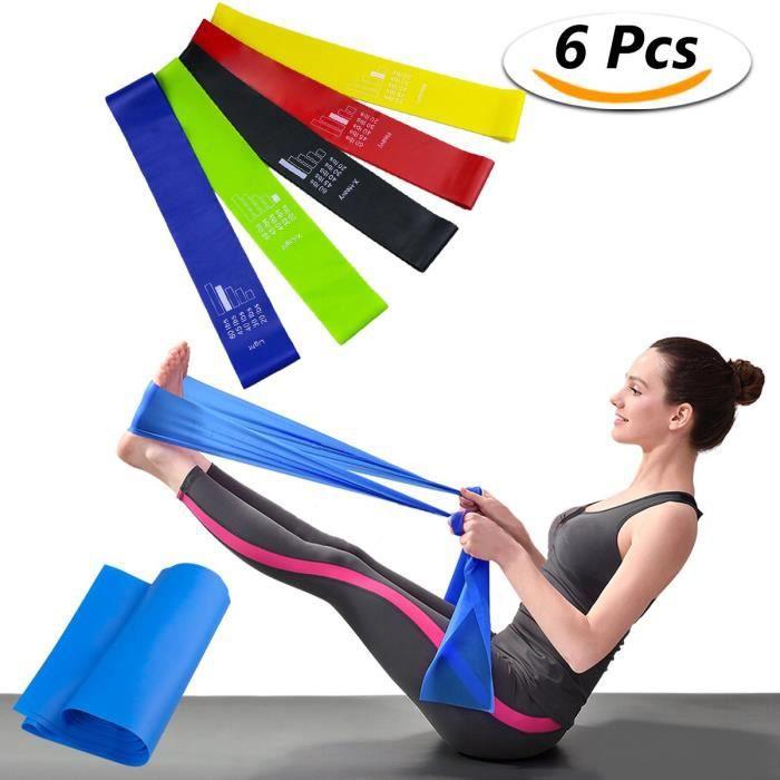 Bande Elastique Fitness Set 6 Lot de bandes élastiques d'exercice - Bande de Resistance -Équipement d'Exercices pour Musculation