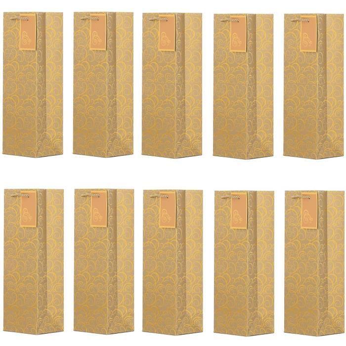 DonDon - Lot de 10 pochettes cadeaux sacs de bouteilles or pour vin et champagne 36x12x10 cm92
