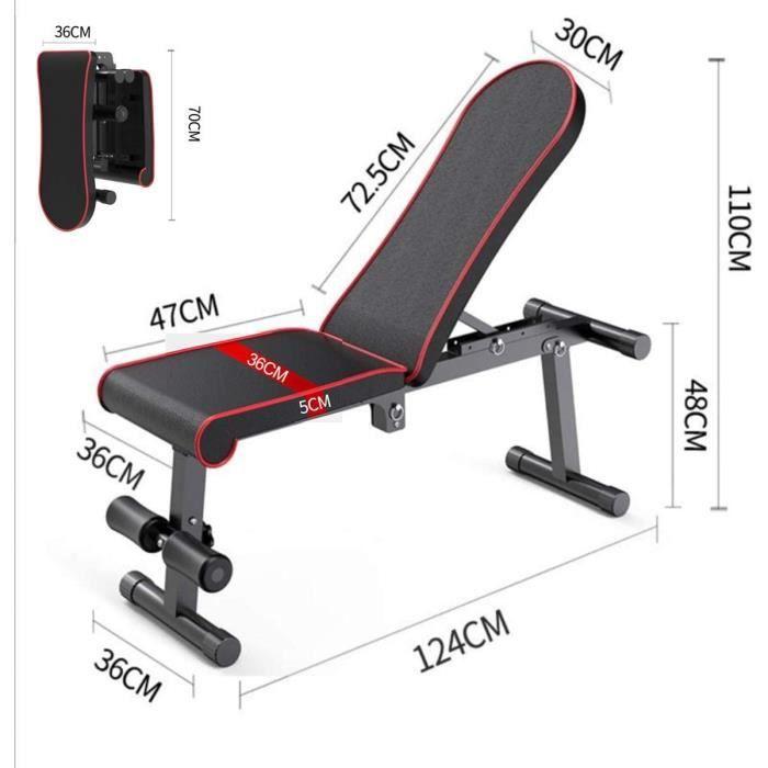 Banc de musculation pliable- banc de musculation utilitaire- banc de musculation plat-incliné-incliné pour la salle de sport à [257]