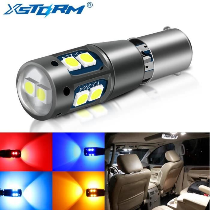 Ice Blue BAY9S -Ampoule Led BA9S BAX9S BAY9S, H21W H6W T4W T11, lumières de liquidation de voiture Canbus, lampe de voiture 12V blan