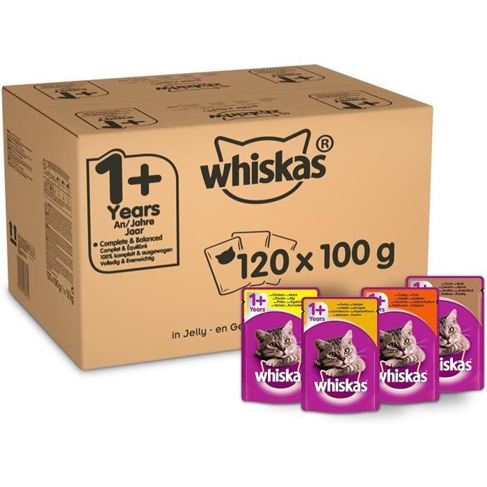 Nourriture pour chats Whiskas 1+ Mélange sélectif de sachets en gelée pour Chat 100 g, Lot de 120 39013