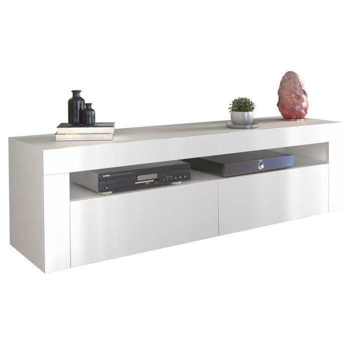 Meuble TV DEKO 2D 160 - BLANC BRILLANT