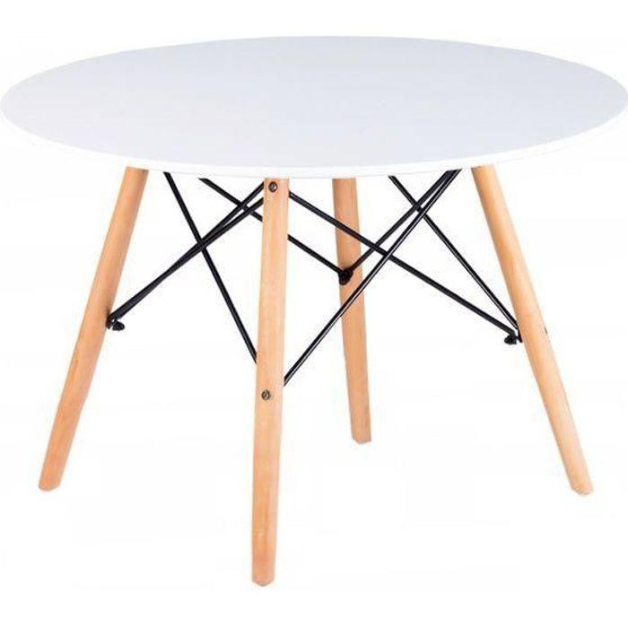 MSTORE - Table basse moderne plateau rond en métal cadre - Diamètre 60 cm + Hauteur 48 cm - Style scandinave - Blanc