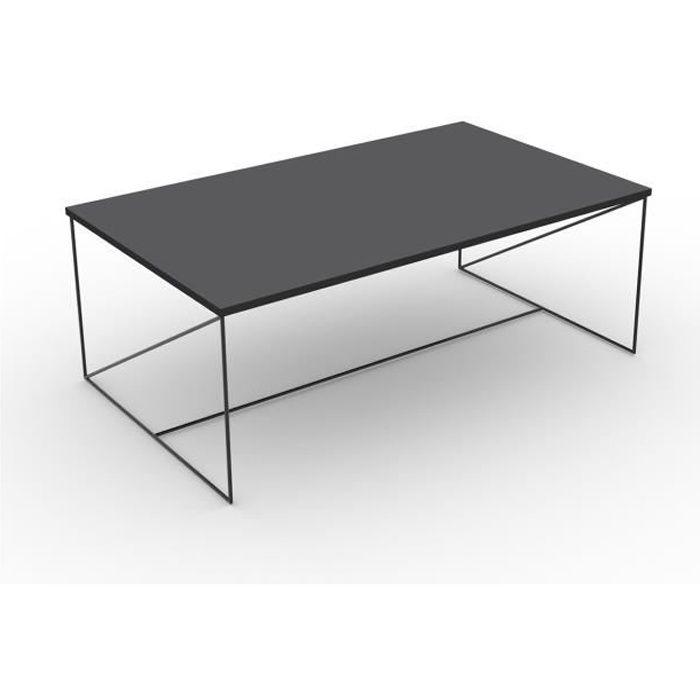 Table basse structure métallique laquée noir avec plateau gris chant noir - CaliCosy Gris