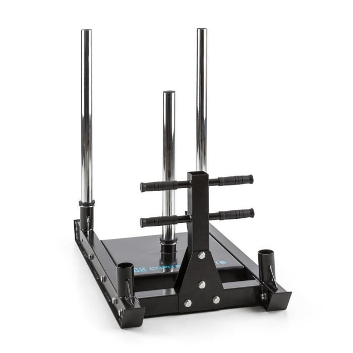 CAPITAL SPORTS Sledster Plus Traineau de poids en acier massif pour exercices de traction ou pression ( 2 rails de 7cm , Ø 50 mm)