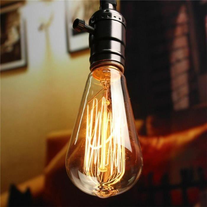 3pcs Ampoule LED Edison ST64-E27 220V 40W Filament Tungstène Vintage 150lm Lampe Rétro Lumière Blanc Chaud Romantique