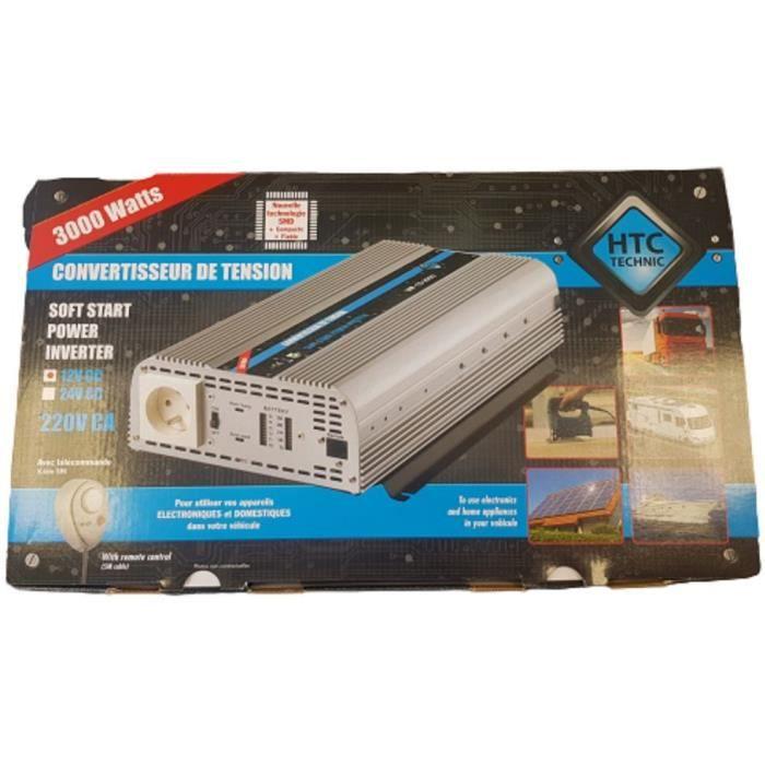 Convertisseur de tension 12/220V 3000W avec télécommande