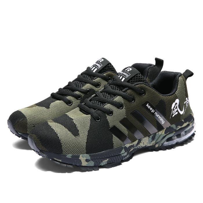 Chaussures de course respirantes en maille de camouflage tissé Chaussures de sport Chaussures de sport Armée Verte