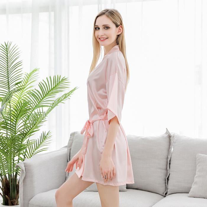 Pyjama en satin de soie,Peignoir de mariage en Satin soie, pyjama pour femmes, manches d'été, demoiselle d'honneur, Robe de nuit, p