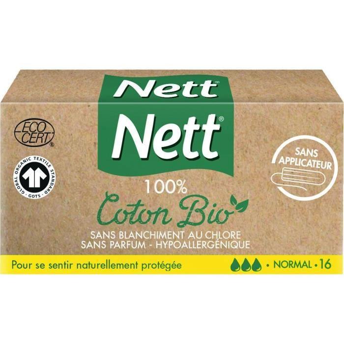 NETT Tampon Coton Bio sans applicateur Normal - Boîte de 16