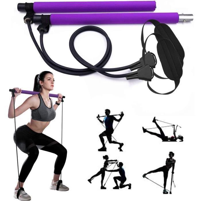 NightyNine Réglable Barre de Pilates pour Elastique Musculation, Hipsline Body Sculpt, Yoga Entraînemen, Pilateuse Kit avec Bande El