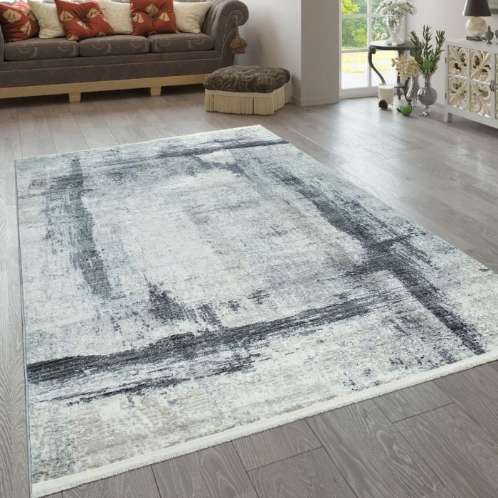 Tapis Bleu Gris Beige Salon Design Usé Motif Abstrait Motif Rayures [80x150 cm]