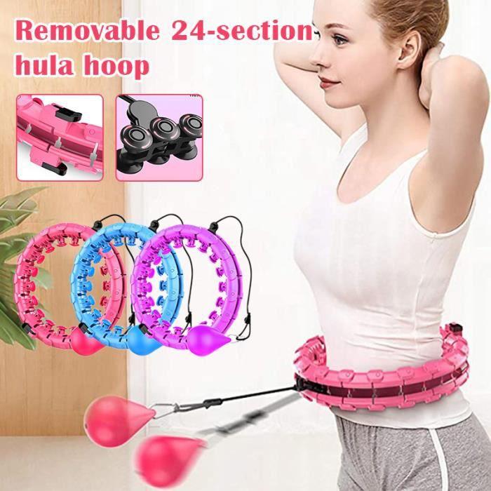 Hula Hoops Fitness, Cerceau de Fitness Réglable et Détachable, 24 Nœuds Fitness, Adapté au Fitness/Gymnastique/Activités - BLEU