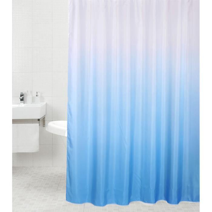 Rideau de douche Bleu 180 x 200 cm - de haute qualité - 12 anneaux inclus - imperméable - effet anti-moisissures