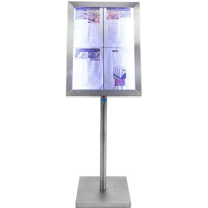 Porte-menu 4 x A4 Classic LED en acier inoxydable avec pied - Présentoir menu hôtel restaurant 5 Acier Inoxydable