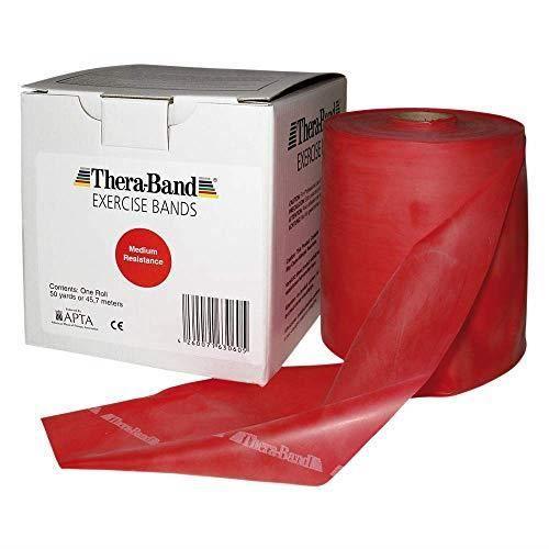 Bande de résistance à l'effort élastique TheraBand Original en rouge - 13 cm de large