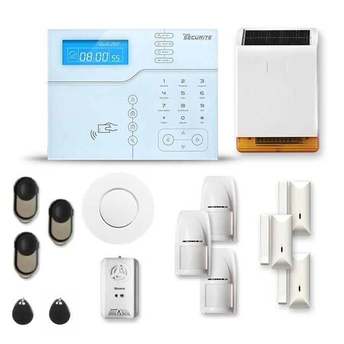 Alarme maison sans fil SHB V2 3 à 4 pièces mouvement + intrusion + détecteur de fumée + gaz + sirène extérieure solaire - Avec GSM