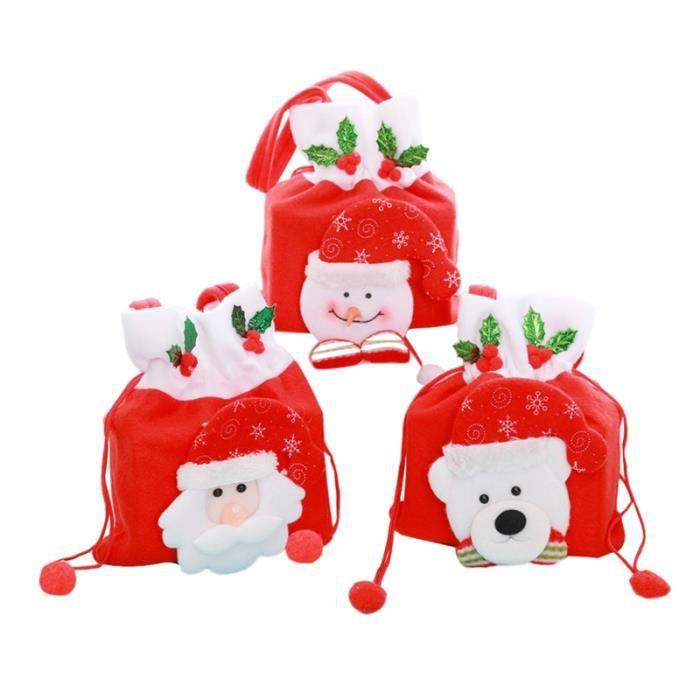 3pcs Sacs De Bonbons De Noël De Dessin Animé épaississent Sac Non Tissé En Tissu Sac à Main Bonhomme De Neige Père Noël Cadeau