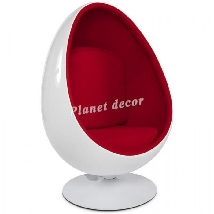 Fauteuil Design Oeuf Blanc Rouge Achat Vente Fauteuil Blanc Cdiscount