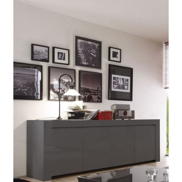 bahut moderne laqu gris 4 portes 39 twice 39 dimension du. Black Bedroom Furniture Sets. Home Design Ideas