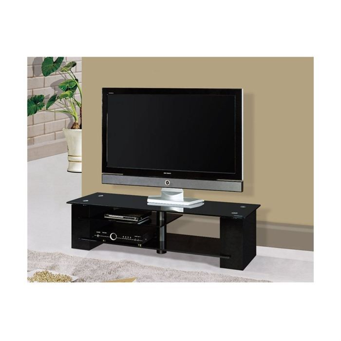meuble tv design noir et verre noir parma achat vente. Black Bedroom Furniture Sets. Home Design Ideas