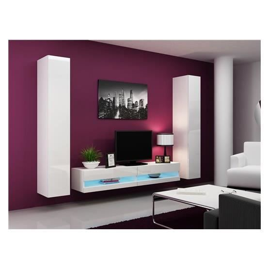 ensemble meuble tv mural plermo blanc achat vente meuble tv meuble tv plermo bl cdiscount. Black Bedroom Furniture Sets. Home Design Ideas