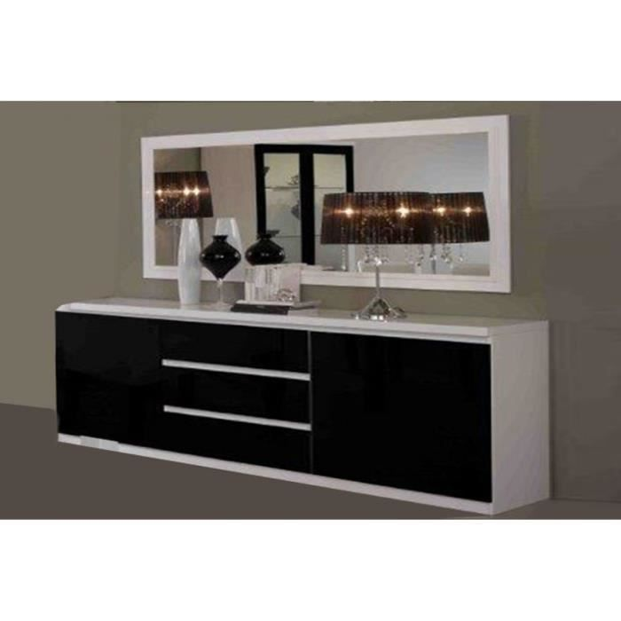 bahut 2 portes 3 tiroir roma blanc noir l 165 cm miroir. Black Bedroom Furniture Sets. Home Design Ideas