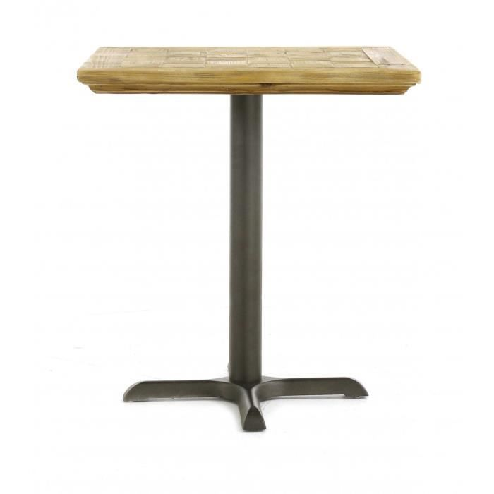 Table repas carr e pin et m tal 70 cm bistrot achat - Table bistrot carree ...