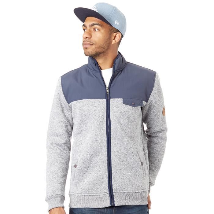 Sweat zippé Quiksilver Keller Mix Sherpa Lined Bleu Nights