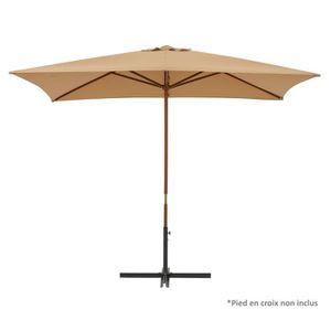 PARASOL Parasol en bois rectangulaire - 300x200cm - Taupe