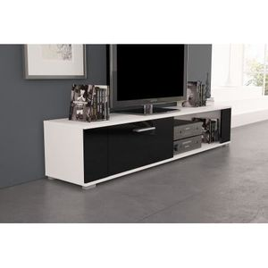 meuble tv orkus blanc mat noir brillant achat vente meuble tv meuble tv orkus blanc mat. Black Bedroom Furniture Sets. Home Design Ideas