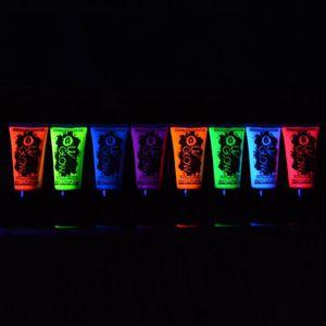PAILLETTES CORPS UV Glow Lot 8x50ml Peinture Néon Fluo Corps