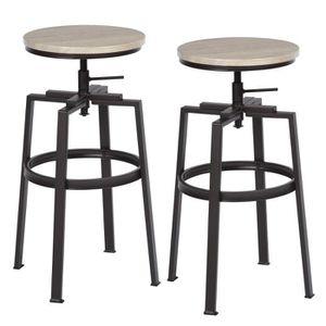 TABOURET DE BAR Lot de 2 Tabouret de Bar Hauteur Réglable 66.5-74c