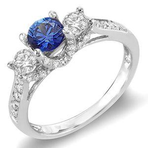 BAGUE - ANNEAU Bague Femme 18 ct 750-1000 Or Blanc Rond Diamants
