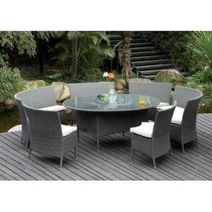 Table à manger de jardin RIO GRANDE en résine tressée grise ...