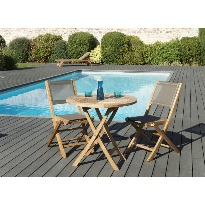 Ensemble de jardin en teck : 1 table ovale extensible 180 / 240 x 100 cm - 3 lots de 2 chaises pliantes en textilène JARDITECK