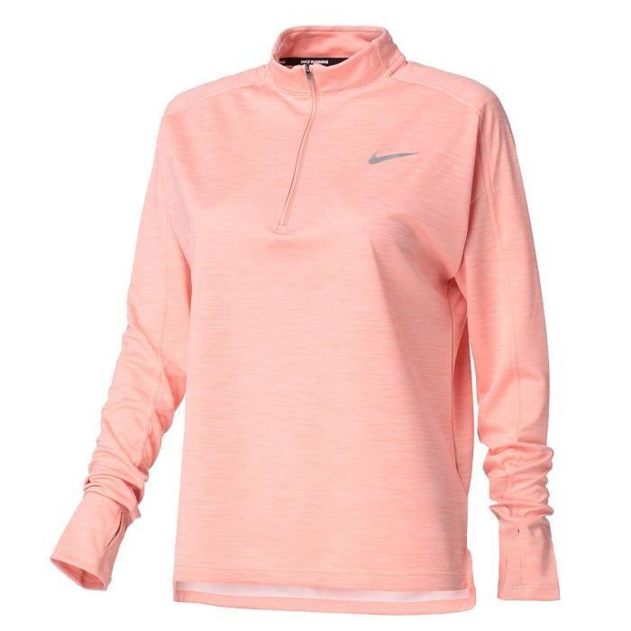 NIKE T-Shirt de running manches longues W NK PACER TOP HZ Femme Rose