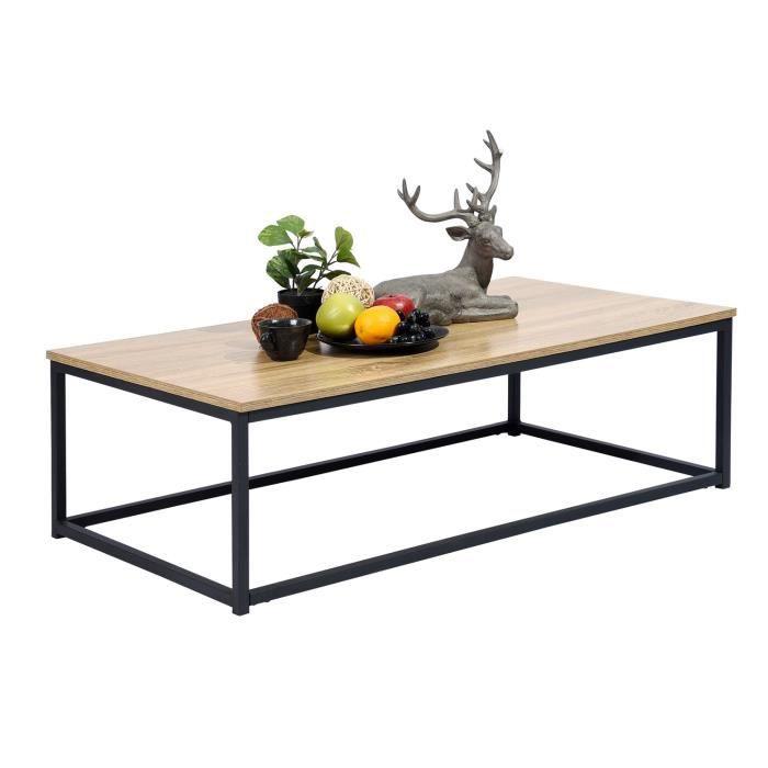 MEUBLES COSY Moderne Table Basse Bout Canapé 110x60cm - Plateau Panneau Bois Chêne - Métal Peint Noir