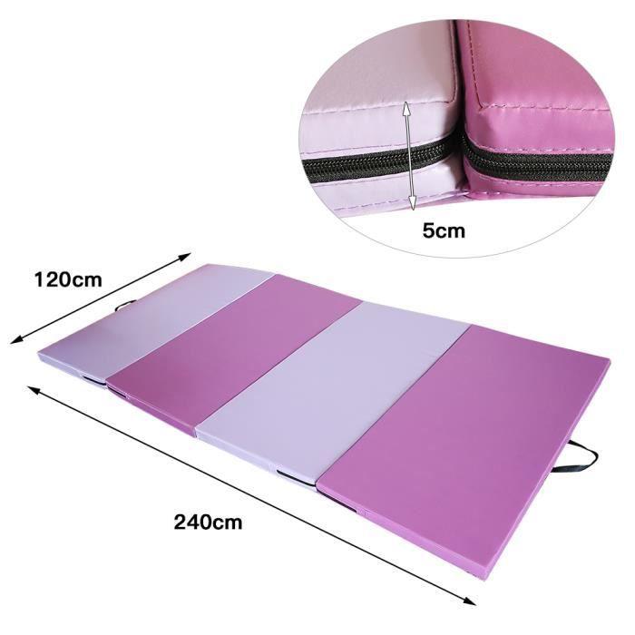 Tapis de Sol 180cm pour Fitness Exercices et Gymnastique 240 x 120 x 5 cm Matelas de Gym Épais Pliable,Rose-violet
